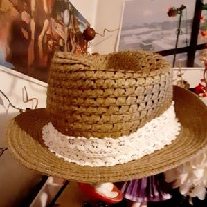 Cute lace straw sunhat,